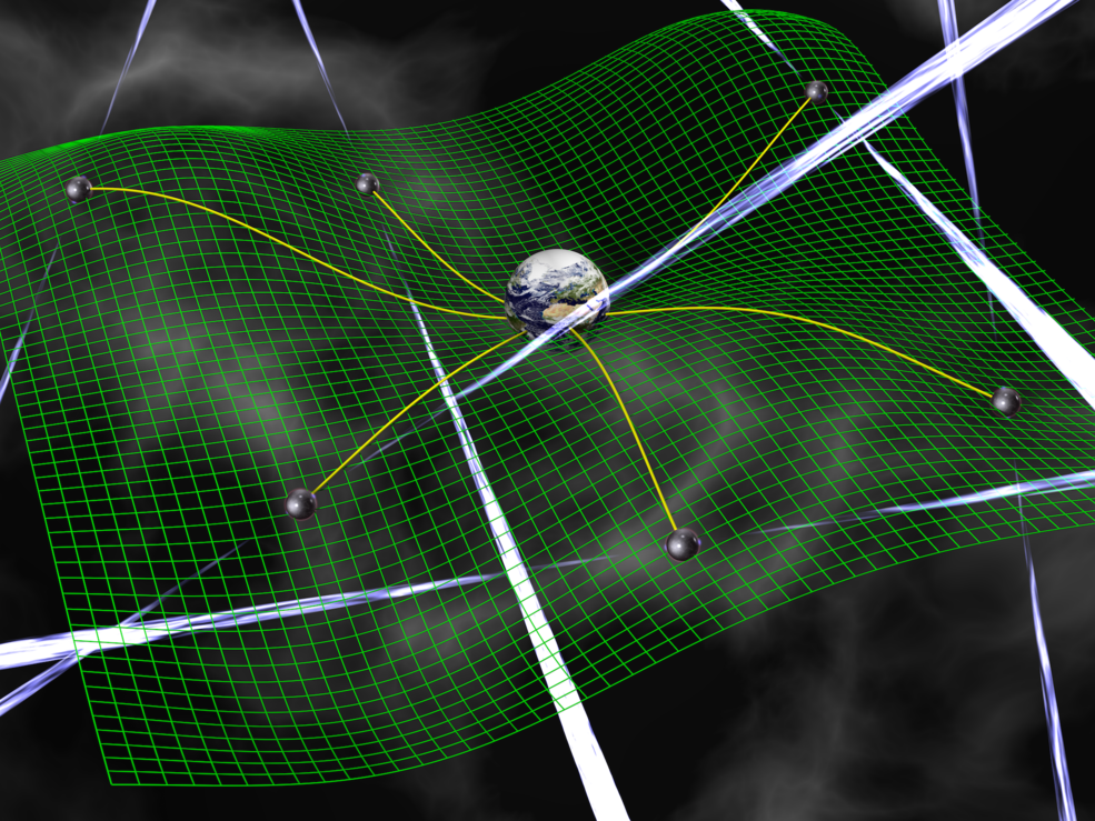 Gravitational waves are ripples in space-time, represented by the green grid, produced by accelerating bodies such as interacting supermassive black holes. These waves affect the time it takes for radio signals from pulsars to arrive at Earth. Image Credit: David Champion