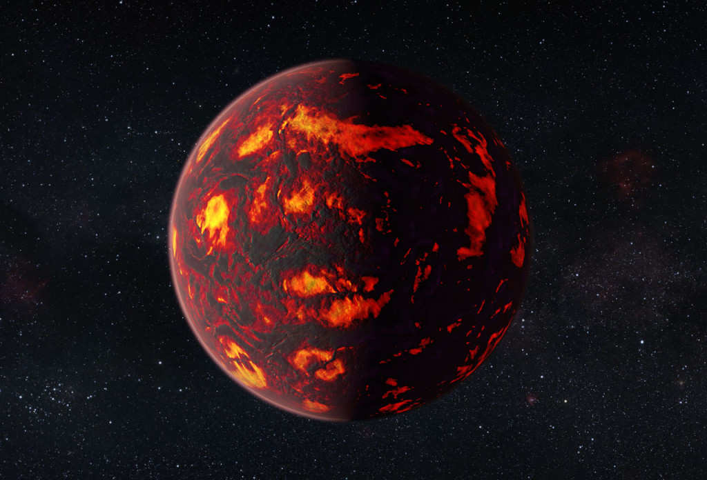 This artist's impression shows the exoplanet 55 Cancri e as close-up. Due to its proximity to its parent star, the temperatures on the surface of the planet are thought to reach about 2000 degrees Celsius. Scientists were able to analyze the atmosphere of 55 Cancri e. It was the first time this was possible for a super-Earth exoplanet. Image Credit: ESA/Hubble, M. Kornmesser