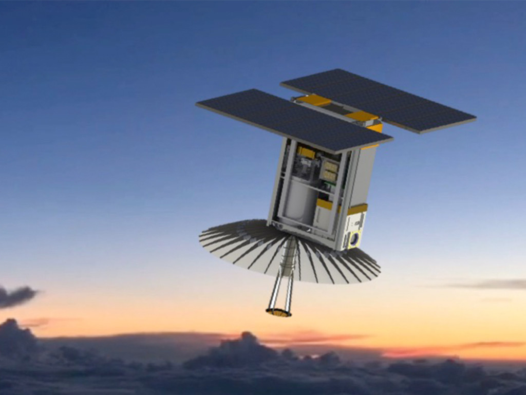 An illustration of RainCube, enabling precipitation observations from space in a CubeSat platform. Image Credit: RainCube team