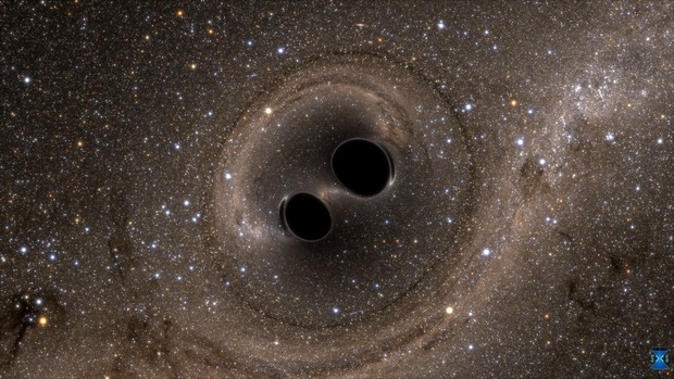 The collision of two black holes holes—a tremendously powerful event detected for the first time ever by the Laser Interferometer Gravitational-Wave Observatory, or LIGO—is seen in this still from a computer simulation. LIGO detected gravitational waves, or ripples in space and time generated as the black holes spiraled in toward each other, collided, and merged. This simulation shows how the merger would appear to our eyes if we could somehow travel in a spaceship for a closer look. It was created by solving equations from Albert Einstein's general theory of relativity using the LIGO data. Image Credit: LIGO