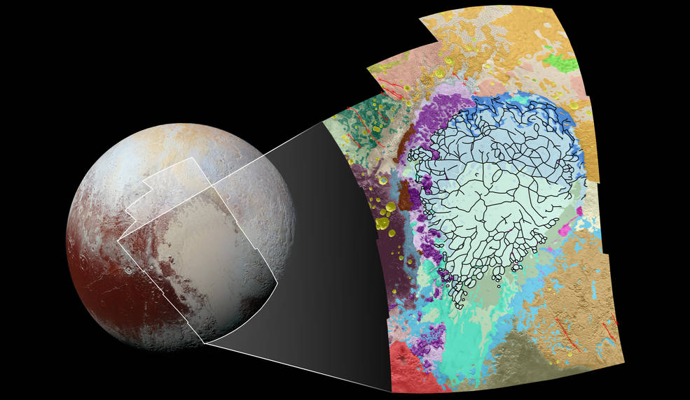 This map of the left side of Pluto's heart-shaped feature uses colors to represent Pluto's varied terrains, which helps scientists understand the complex geological processes at work. Image Credit:  NASA/JHUAPL/SwRI