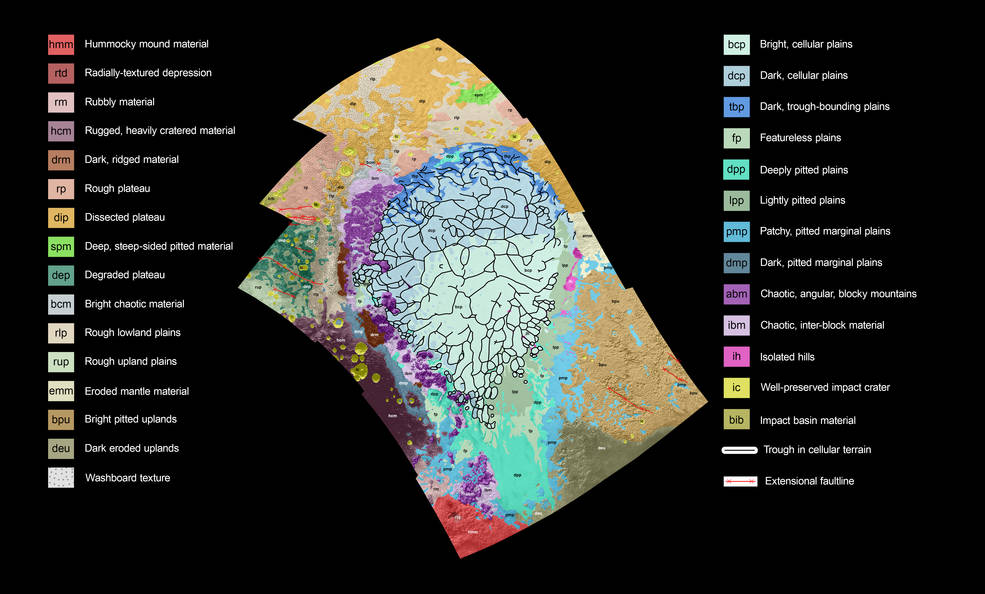 Pluto's informally-named Sputnik Planum region is mapped, with the key indicating a wide variety of units or terrains. Image Credit: NASA/JHUAPL/SwRI