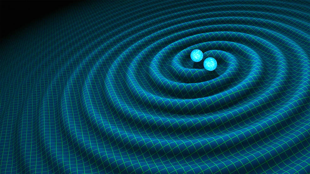 An artist's impression of gravitational waves generated by binary neutron stars. Image Credit: R. Hurt/Caltech-JPL