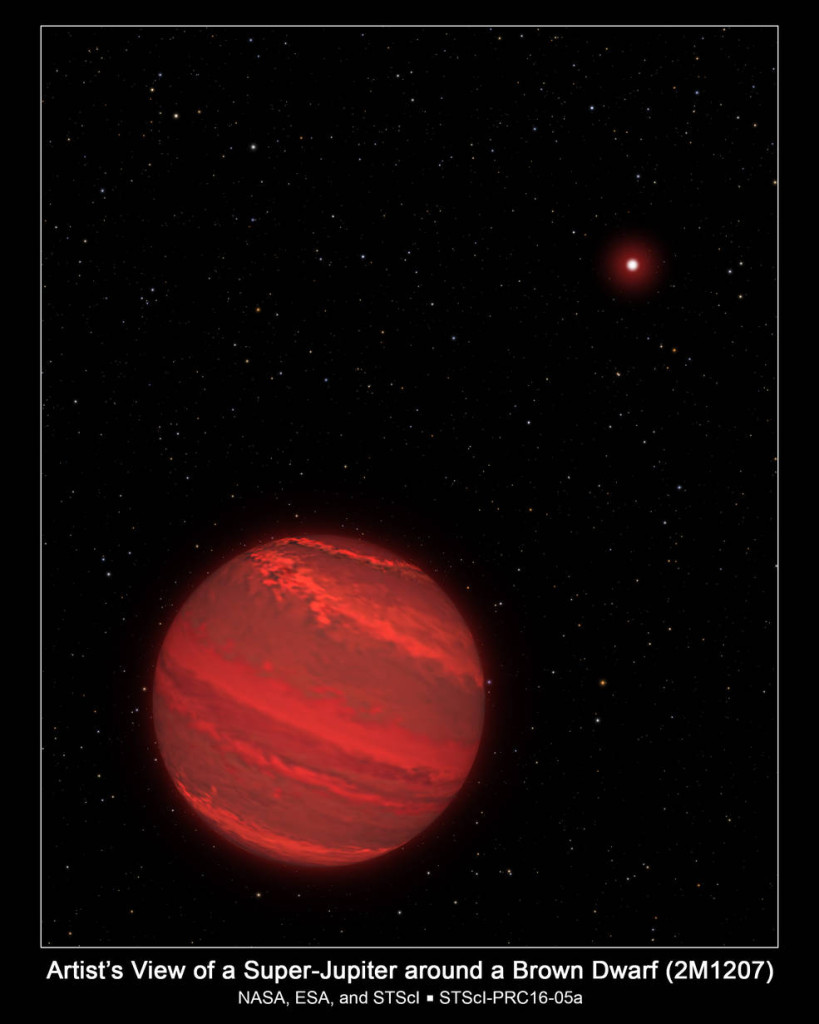 This is an illustration of a planet that is four times the mass of Jupiter and orbits 5 billion miles from a brown dwarf companion object (the bright red star seen in the background). The planet is only 170 light-years away. Our sun is a faint star in the background. Image Credit: NASA, ESA, and G. Bacon/STScI