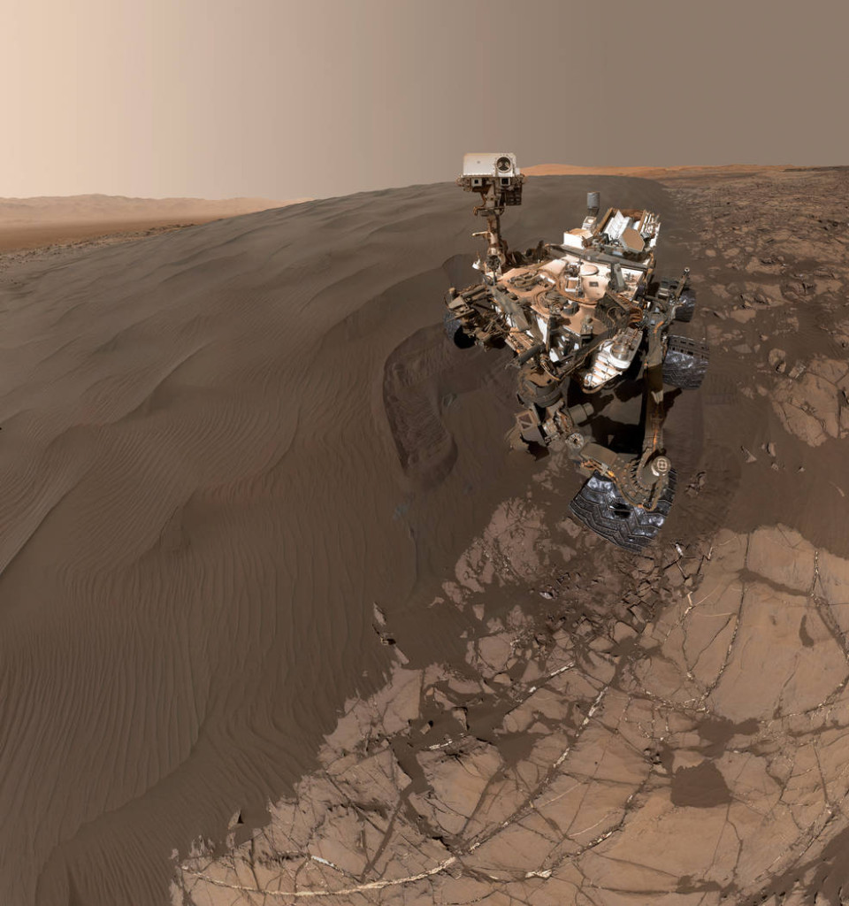 "This Jan. 19, 2016, self-portrait of NASA's Curiosity Mars rover shows the vehicle at ""Namib Dune,"" where the rover's activities included scuffing into the dune with a wheel and scooping samples of sand for laboratory analysis. Image Credit: NASA/JPL-Caltech/MSSS"