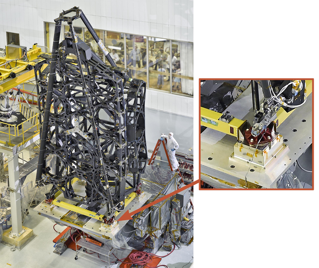 The complete Primary Mirror Backplane Support Structure (PMBSS) for the James Webb Space Telescope (JWST). The inset shows the location of the four support mounts of the type that NIST measured. For scale, note the assembly technician in the photo. The PMBSS is the largest single structure on JWST and also the largest precision metrology structure that has ever been built for a NASA program. Image Credit: NASA