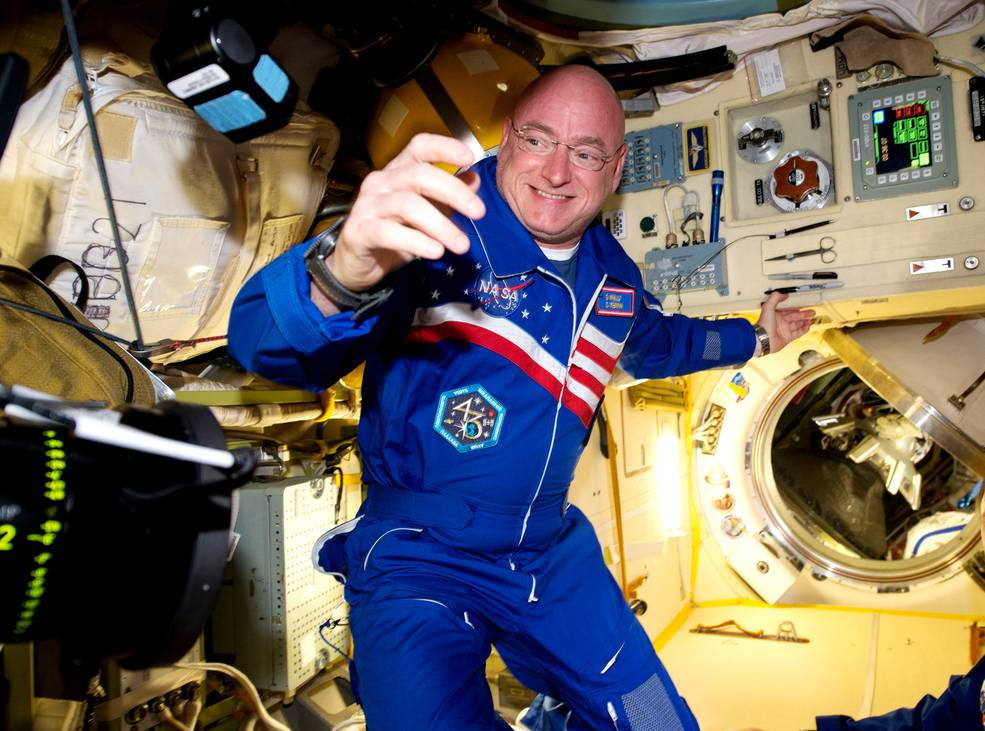 NASA astronaut Scott Kelly arrives aboard the International Space Station on March 28, 2015. Now, 50 years after Gemini V, Kelly and Russian cosmonaut Mikhail Kornienko are in the midst of a one-year stay in orbit aboard the space station. By doubling the length of the usual ISS stay, researchers hope to better understand how the human body reacts and adapts to longer-duration spaceflight. Image Credit: NASA