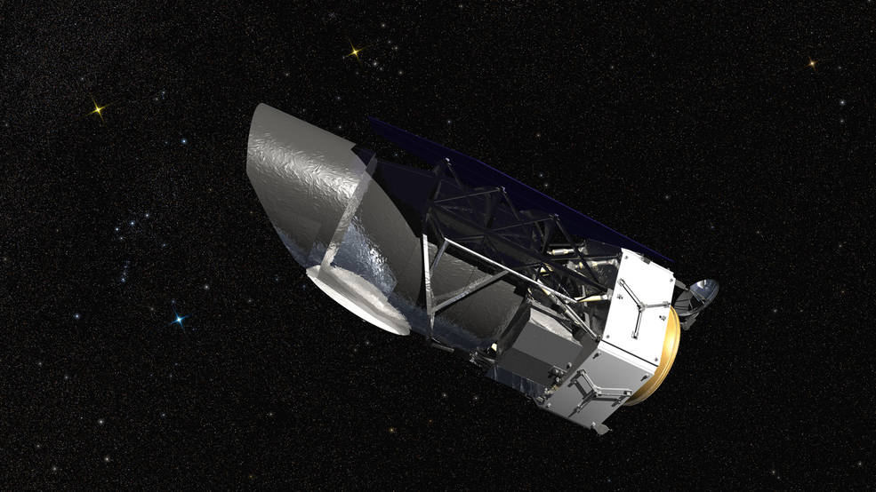 NASA's Wide Field Infrared Survey Telescope (WFIRST), illustrated here, will carry a Wide Field Instrument to capture Hubble-quality images covering large swaths of sky, enabling cosmic evolution studies. Its Coronagraph Instrument will directly image exoplanets and study their atmospheres. Image Credit:  NASA/GSFC/Conceptual Image Lab