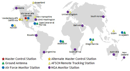 Current locations of GPS network of monitor stations that track navigation signals from GPS satellites and gather data on satellite performance worldwide. Image Credit: USAF