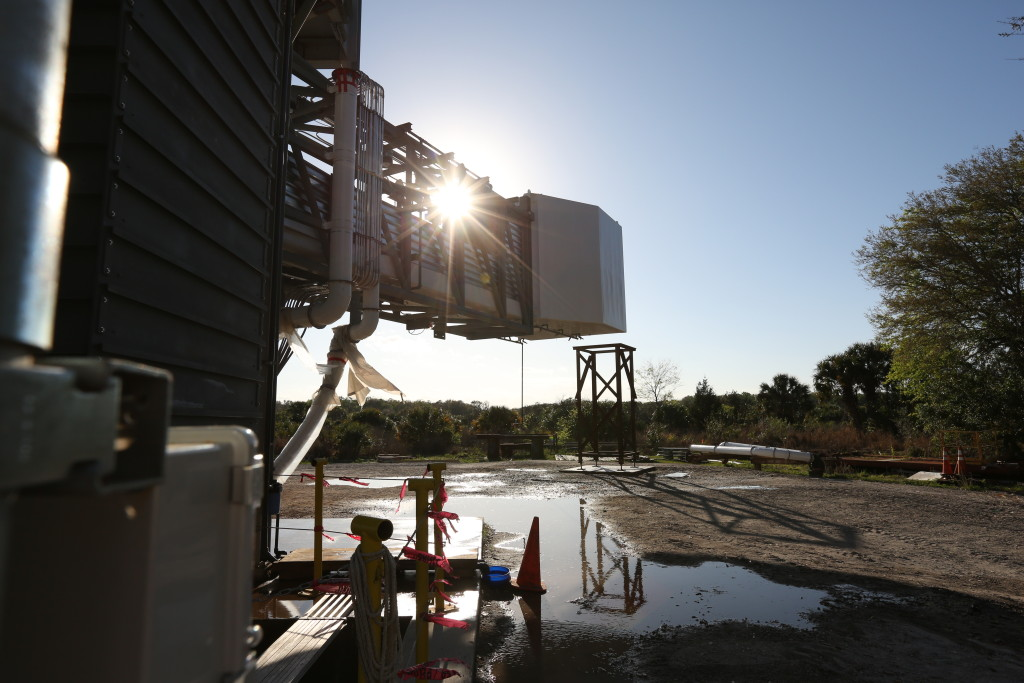 Photo of the Emergency Evacuation Water Test at the CCP Crew Access Arm in Oak Hill, for Boeing/ULA. Image Credit; NASA/Ben Smegelsky