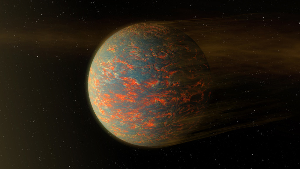 This illustration shows one possible scenario for the hot, rocky exoplanet called 55 Cancri e, which is nearly two times as wide as Earth. Image credit: NASA/JPL-Caltech