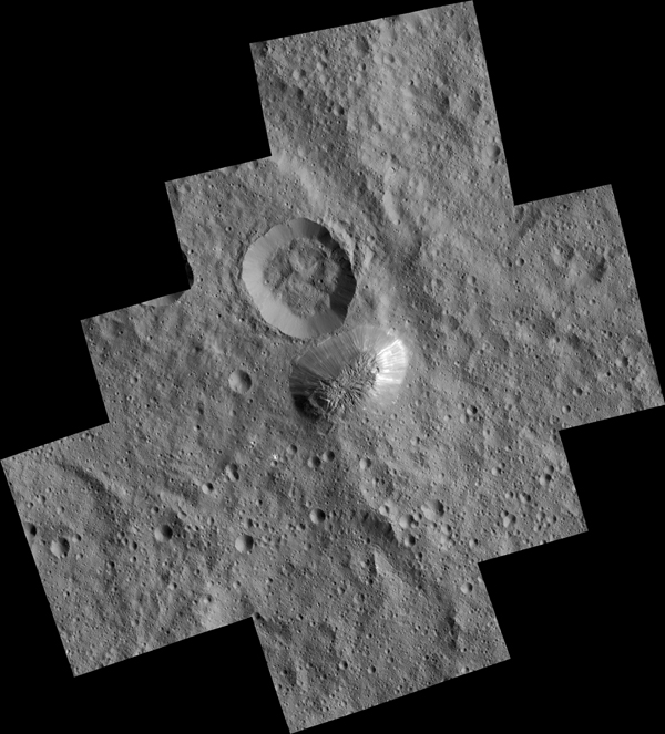 Ceres' mysterious mountain Ahuna Mons is seen in this mosaic of images from NASA's Dawn spacecraft. Dawn took these images from its low-altitude mapping orbit, 240 miles (385 kilometers) above the surface, in December 2015. The resolution of the component images is 120 feet (35 meters) per pixel. Image Credit: NASA/JPL-Caltech/UCLA/MPS/DLR/IDA/PSI