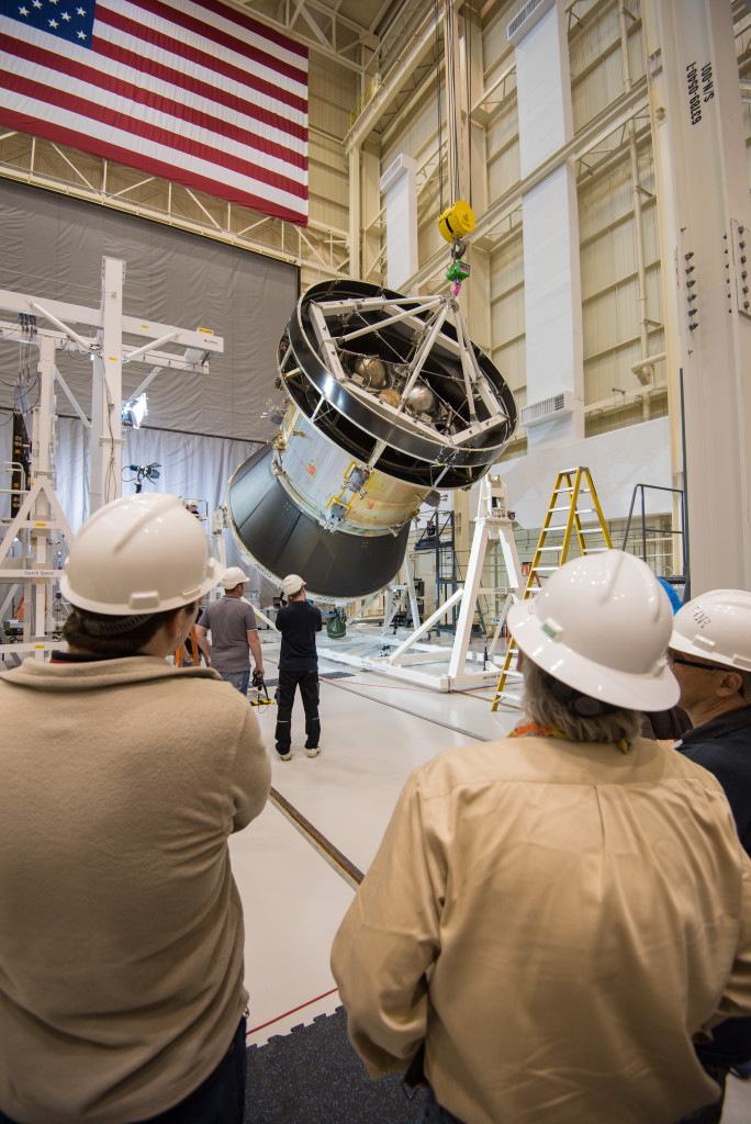A representative structure of Orion's service module, which is being testing at Plum Brook Station, was tilted to a 90 degree angle in preparation for the solar array deployment test. Image Credit: NASA