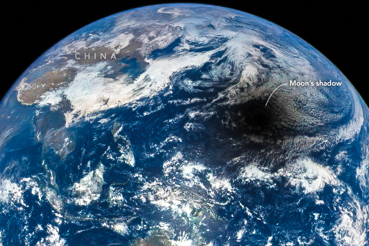 DSCOVR looked down from space and captured the shadow of the Moon marching across Earth's sunlit face. Image Credit: NASA