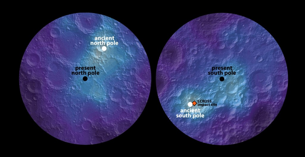 This polar hydrogen map of the moon's northern and southern hemispheres identifies the location of the moon's ancient and present day poles. In the image, the lighter areas show higher concentrations of hydrogen and the darker areas show lower concentrations. Image Credit: James Keane, University of Arizona; Richard Miller, University of Alabama at Huntsville