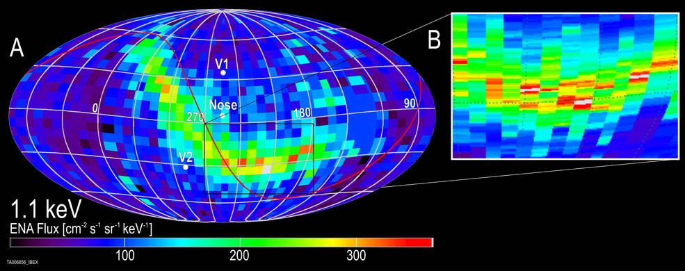 The IBEX ribbon is a relatively narrow strip of particles flying in towards the sun from outside the heliosphere. A new study corroborates the idea that particles from outside the heliosphere that form the IBEX ribbon actually originate at the sun – and reveals information about the distant interstellar magnetic field. Image Credit: SwRI