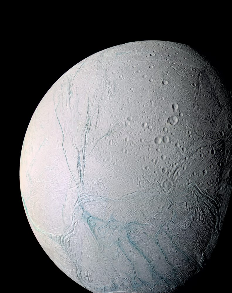 This enhanced color view of Enceladus shows much of the southern hemisphere and includes the south polar terrain at the bottom of the image. Scientists at the University of Chicago and Princeton University have published a new study describing the process that drives and sustains this moon of Saturn's long-lived geysers. Image Credit: NASA/JPL/Space Science Institute