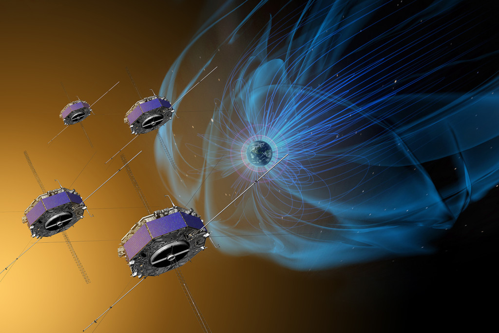 Artist concept of the Magnetospheric Multiscale, or MMS, mission to study how magnetic fields release energy in a process known as magnetic reconnection. Image Credit: NASA