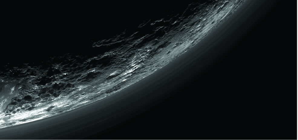 This image of haze layers above Pluto's limb was taken by the Ralph/Multispectral Visible Imaging Camera (MVIC) on NASA's New Horizons spacecraft. About 20 haze layers are seen; the layers have been found to typically extend horizontally over hundreds of kilometers, but are not strictly parallel to the surface. For example, scientists note a haze layer about 3 miles (5 kilometers) above the surface (lower left area of the image), which descends to the surface at the right. Image Credit: NASA/JHUAPL/SwRI