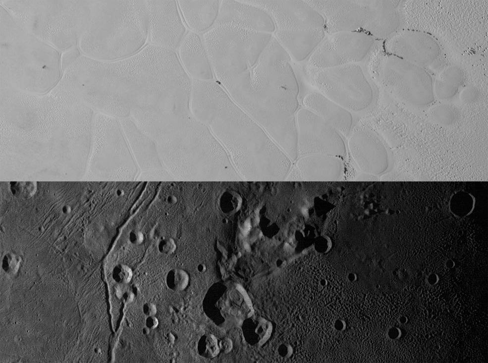 "Above are New Horizons' views of the informally named Sputnik Planum on Pluto (top) and the informally named Vulcan Planum on Charon (bottom). Both scale bars measure 20 miles (32 kilometers) long; illumination is from the left. The bright, nitrogen-ice plains are defined by a network of crisscrossing troughs. This observation was obtained by the Ralph/Multispectral Visible Imaging Camera (MVIC) at a resolution of 1,050 feet (320 meters) per pixel. The Vulcan Planum view in the bottom panel includes the ""moated mountain"" Clarke Mons just above the center of the image. The water ice-rich plains display a range of surface textures, from smooth and grooved at left, to pitted and hummocky at right. This observation was obtained by the Long Range Reconnaissance Imager (LORRI) at a resolution of 525 feet (160 meters) per pixel. Image Credit: NASA/JHUAPL/SwRI"