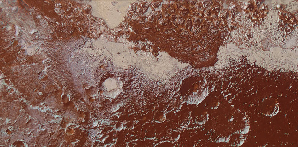 This enhanced color view of Pluto's surface diversity was created by merging Ralph/Multispectral Visible Imaging Camera (MVIC) color imagery (650 meters or 2,132 feet per pixel) with Long Range Reconnaissance Imager panchromatic imagery (230 meters or 755 feet per pixel). At lower right, ancient, heavily cratered terrain is coated with dark, reddish tholins. At upper right, volatile ices filling the informally named Sputnik Planum have modified the surface, creating a chaos-like array of blocky mountains. Volatile ice also occupies a few nearby deep craters, and in some areas the volatile ice is pocked with arrays of small sublimation pits. At left, and across the bottom of the scene, gray-white methane ice deposits modify tectonic ridges, the rims of craters, and north-facing slopes. The scene in this image is 260 miles (420 kilometers) wide and 140 miles (225 kilometers) from top to bottom; north is to the upper left. Image Credit: NASA/JHUAPL/SwRI