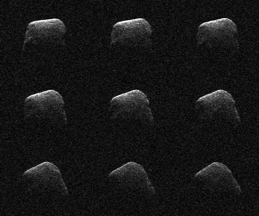 These radar images of comet P/2016 BA14 were taken on March 22, 2016, by scientists using an antenna of NASA's Deep Space Network at Goldstone, California. At the time, the comet was about 2.2 million miles (3.6 million kilometers) from Earth. Image Credit: NASA/JPL-Caltech/GSSR