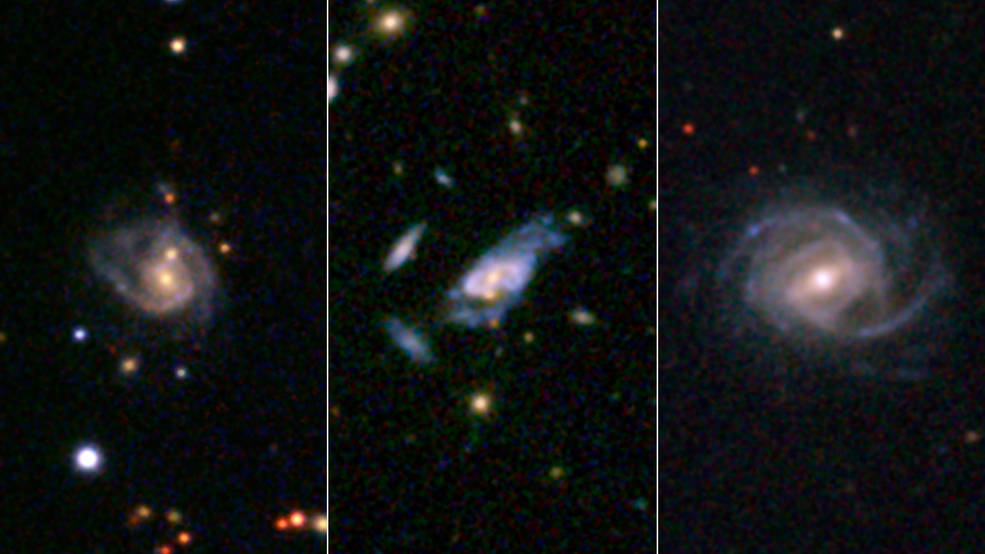 Three examples of super spirals are presented here in images taken by the Sloan Digital Sky Survey. Image Credit: SDSS