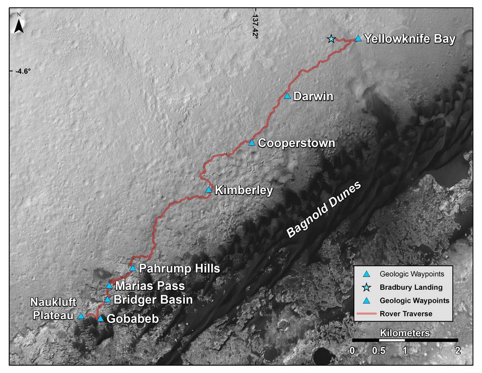 "This map shows the route driven by NASA's Curiosity Mars rover from where it landed in 2012 to its location in early March 2016, approaching ""Naukluft Plateau."" As the rover continues up Mount Sharp, its science team has been refreshed by a second round of NASA participating-scientist selections. Image Credit: NASA/JPL-Caltech/Univ. of Arizona"