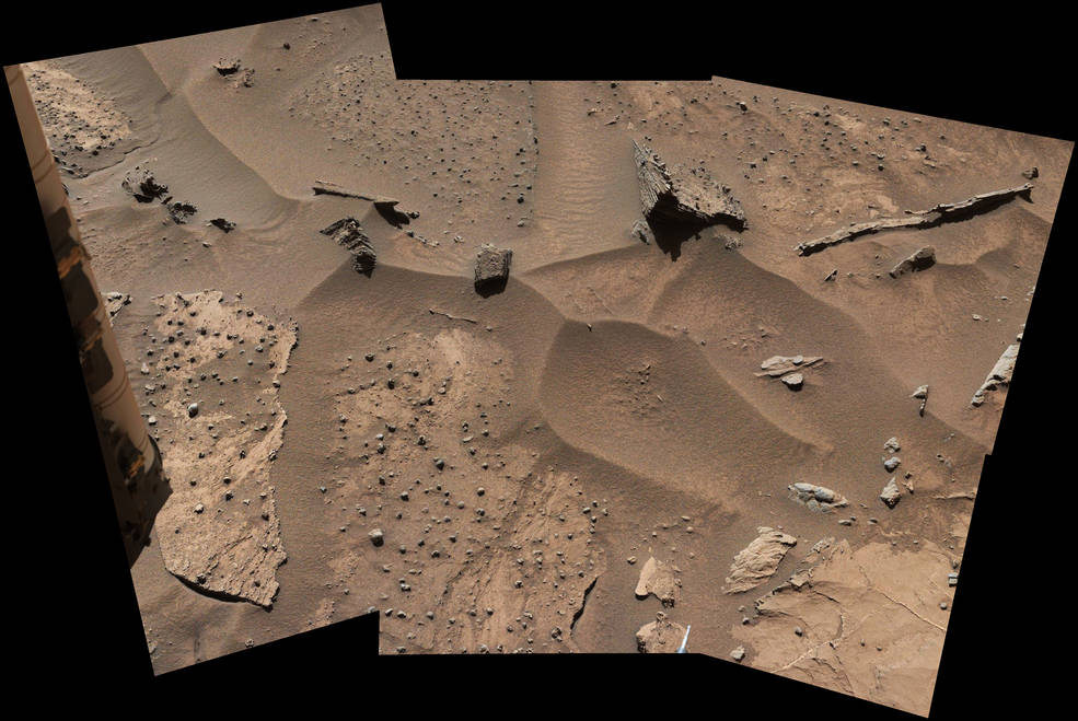 Patches of Martian sandstone visible in the lower-left and upper portions of this March 9, 2016, view from the Mast Camera of NASA's Curiosity Mars rover have a knobbly texture due to nodules apparently more resistant to erosion than the host rock in which some are still embedded. Image Credit: NASA/JPL-Caltech/MSSS