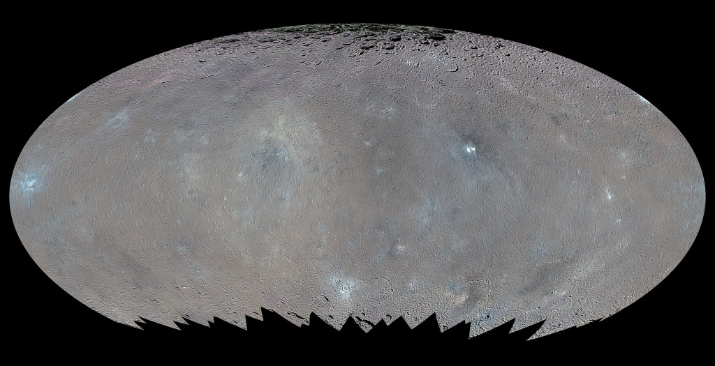This global map shows the surface of Ceres in enhanced color, encompassing infrared wavelengths beyond human visual range. Image Credit: NASA/JPL-Caltech/UCLA/MPS/DLR/IDA