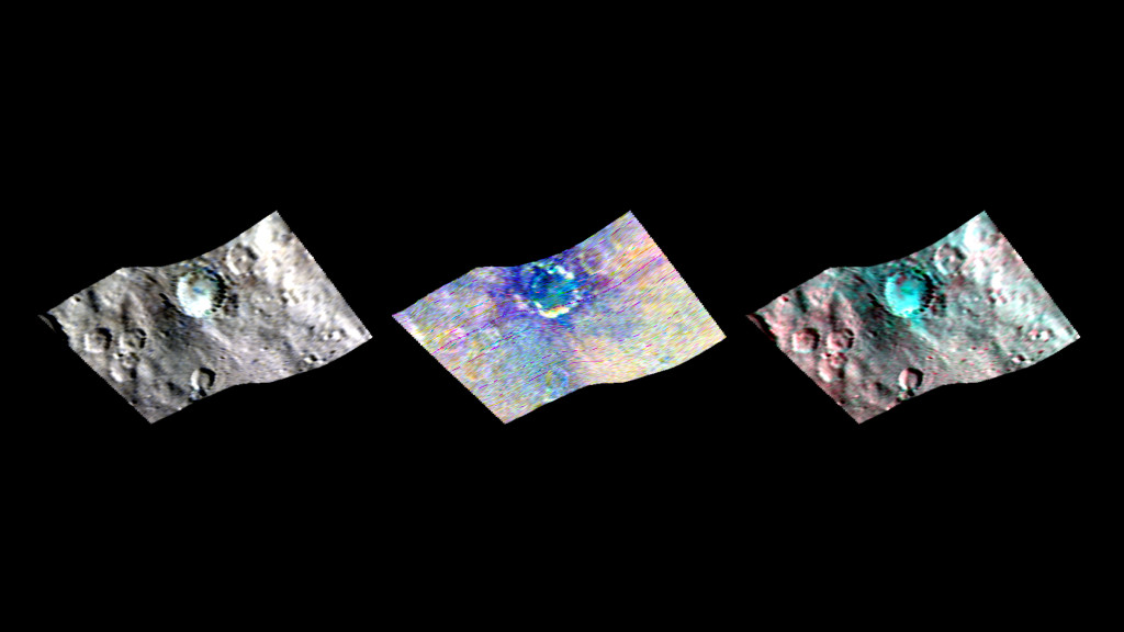 Ceres' Haulani Crater (21 miles, 34 kilometers wide) is shown in these views from the visible and infrared mapping spectrometer (VIR) aboard NASA's Dawn spacecraft. Image Credit: NASA/JPL-Caltech/UCLA/ASI/INAF