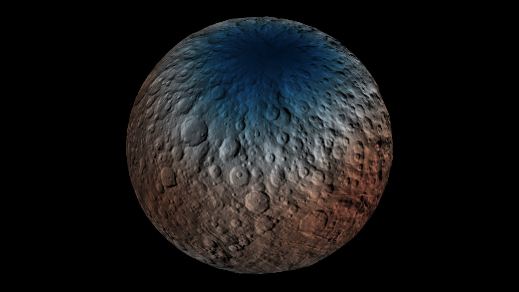 This map shows a portion of the northern hemisphere of Ceres with neutron counting data acquired by the gamma ray and neutron detector (GRaND) instrument aboard NASA's Dawn spacecraft. Image Credit: NASA/JPL-Caltech/UCLA/ASI/INAF