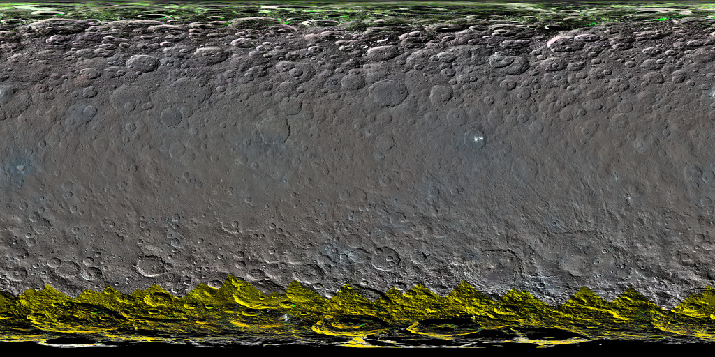 This colorized global map of Ceres was created from a clear-filter mosaic. Image Credit: NASA/JPL-Caltech/UCLA/MPS/DLR/IDA