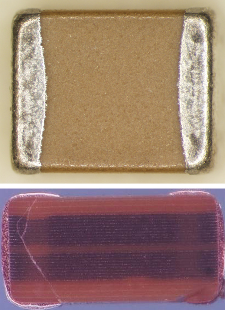 NIST researchers demonstrated an approach for detecting hidden flaws in ceramic capacitors, which store energy in the electronics for medical implants and spacecraft. NIST studied 3-millimeter-long capacitors (top photo), looking for cracks similar to the one shown in the NASA photo (bottom). Image Credit: NIST/NASA