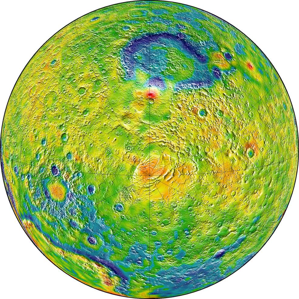 A map of Martian gravity looking down at the South Pole (center). White and red are areas of higher gravity; blue indicates areas of lower gravity. Image Credit: MIT/UMBC-CRESST/GSFC
