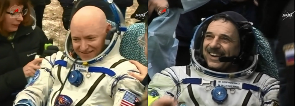 NASA astronaut and Expedition 46 Commander Scott Kelly and his Russian counterpart Mikhail Kornienko enjoy the cold fresh air back on Earth after their historic 340-day mission aboard the International Space Station. Image Credit: NASA TV