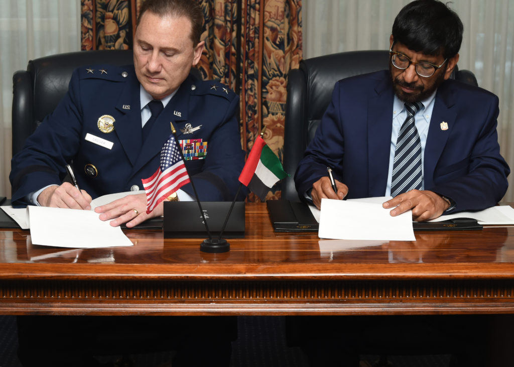 U.S. Air Force Maj. Gen. Clinton E. Crosier, U.S. Strategic Command (USSTRATCOM) director of plans and policy (left), and His Excellency, Dr. Khalifa Al Romaithi, United Arab Emirates Space Agency (UAESA) chairman, sign a memorandum of understanding (MOU) at the Broadmoor Hotel in Colorado Springs, Colo., April 11, 2016. Image Credit: USAF/Senior Airman William Branch