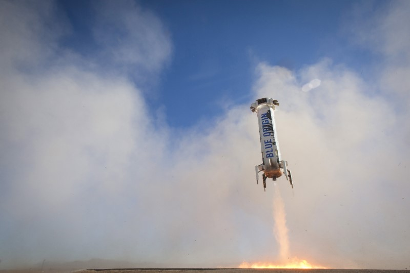 The New Shepard rocket booster lands in this handout photo provided by Blue Origin, in West Texas April 2, 2016.  Image Credit: REUTERS/Blue Origin/