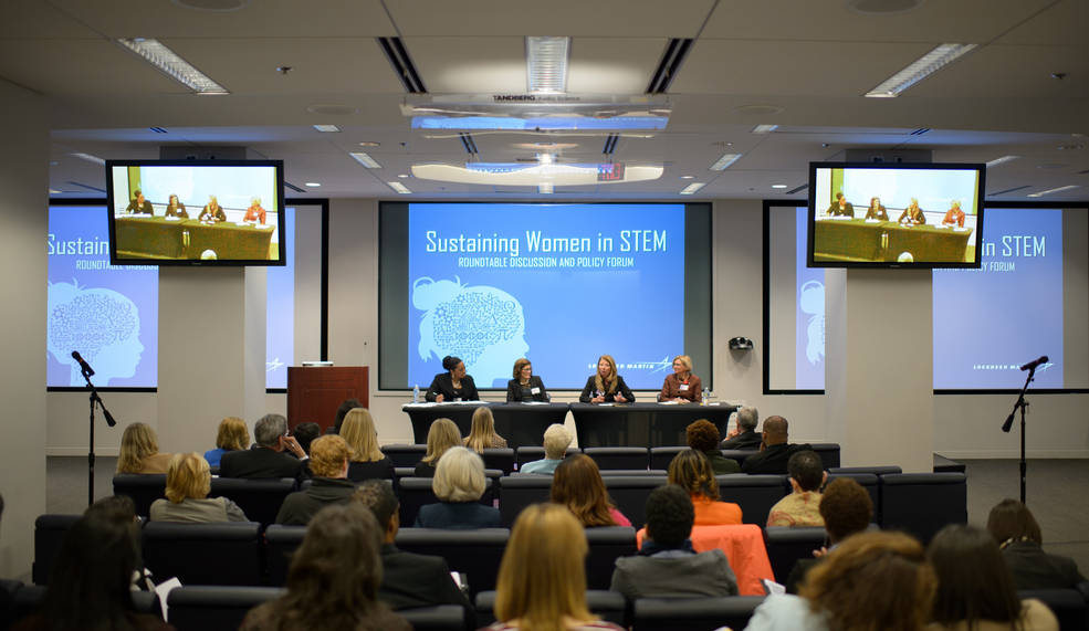 Leaders from industry, government and academia discussed the importance of retaining women in STEM at the Sustaining Women in STEM roundtable March 29. Image Credit: NASA/Joel Kowsky