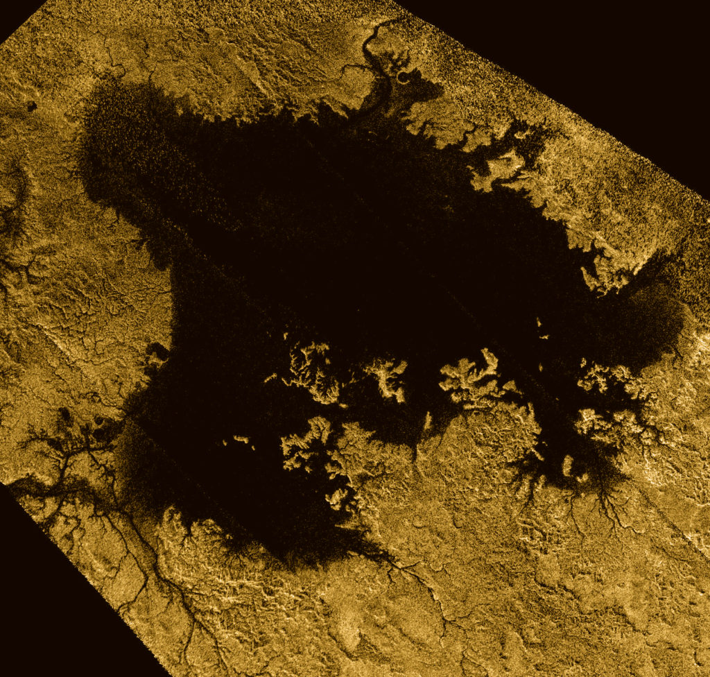 Ligiea Mare is the second largest body of liquid on Saturn's moon Titan. Image Credit: NASA/JPL-Caltech/ASI/Cornell