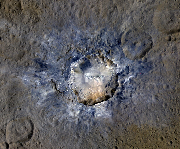 Ceres' Haulani Crater, with a diameter of 21 miles (34 kilometers), shows evidence of landslides from its crater rim. Image Credit: NASA/JPL-Caltech/UCLA/MPS/DLR/IDA