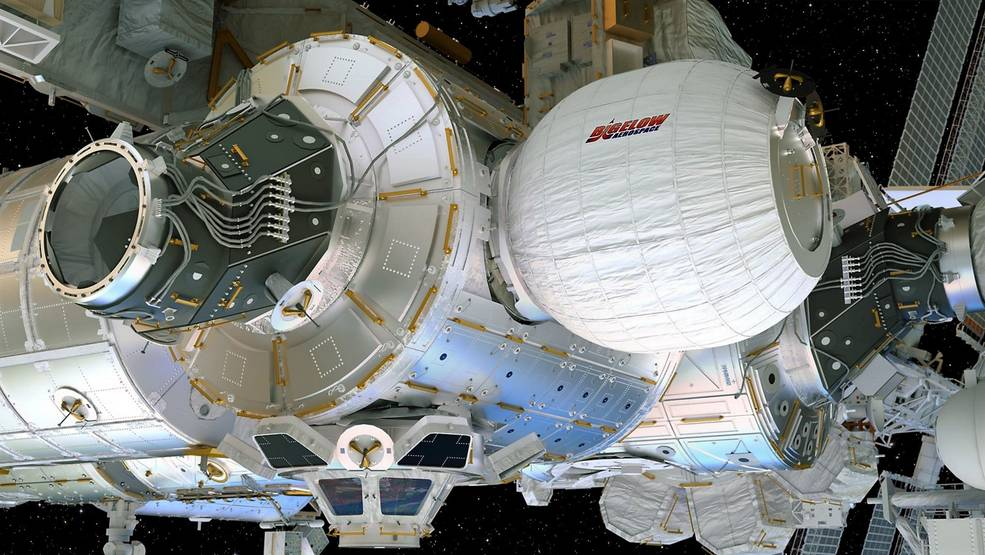 This artist's concept depicts the Bigelow Expandable Activity Module attached to the International Space Station's Tranquility module. Image Credit: Bigelow Aerospace