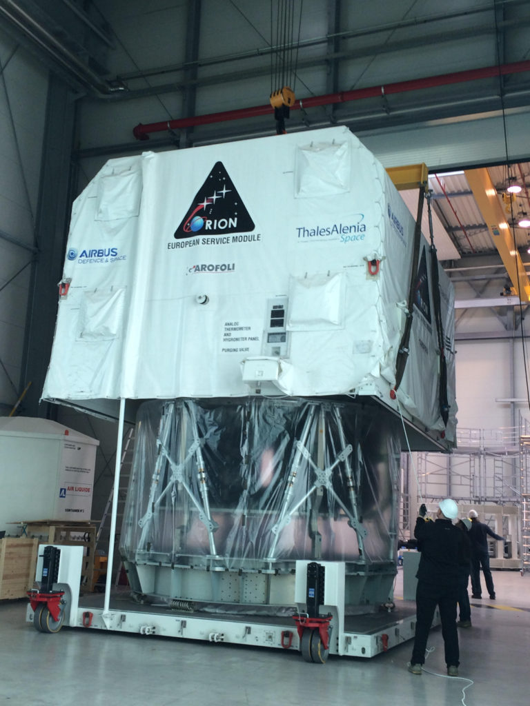 The first flight module of the Orion European Service Module was delivered by Thales Alenia Space to the Airbus DS site in Bremen, Germany on 25 April 2016. The Service Module will for now rest in Building 43 where first integration steps will take place. Later on it will be transported to the cleanroom in building 41, for integration and test in the clean environment. Image Credit: ESA