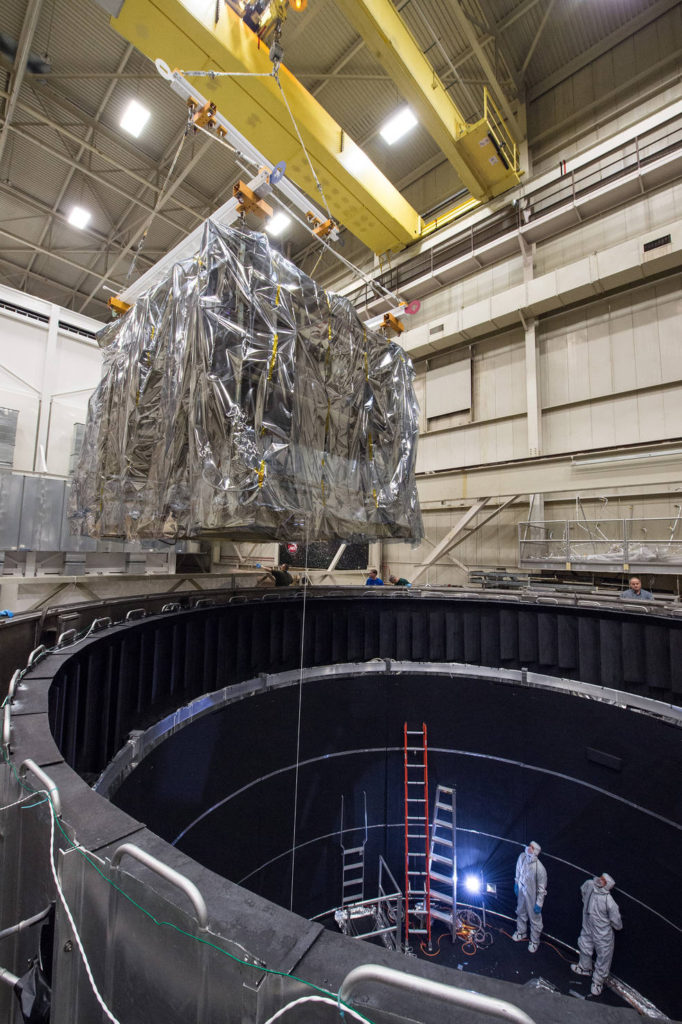 The Core-2 model being lowered into the Space Environment Simulator chamber at Goddard. Image Credit: NASA/Goddard/Desiree Stover