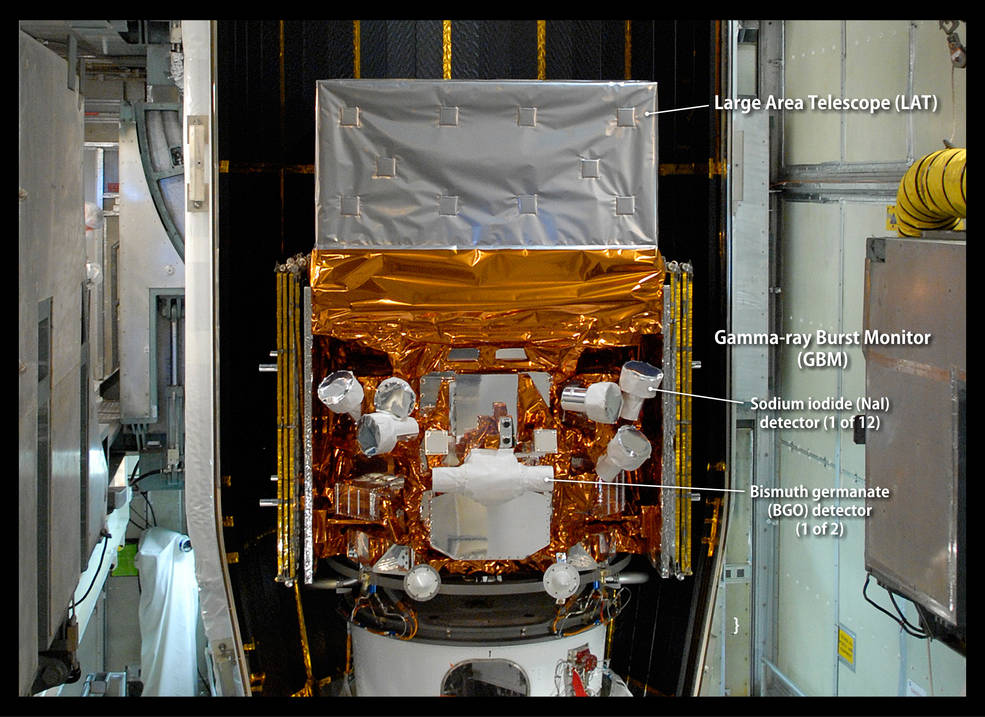 This image, taken in May 2008 as the Fermi Gamma-ray Space Telescope was being readied for launch, highlights the detectors of its Gamma-ray Burst Monitor (GBM). The GBM is an array of 14 crystal detectors. Image Credit: NASA/Jim Grossmann