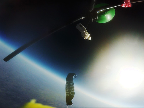 Footage captured by a high-altitude balloon launched by MSU Denver students. Image Credit: MSU Denver