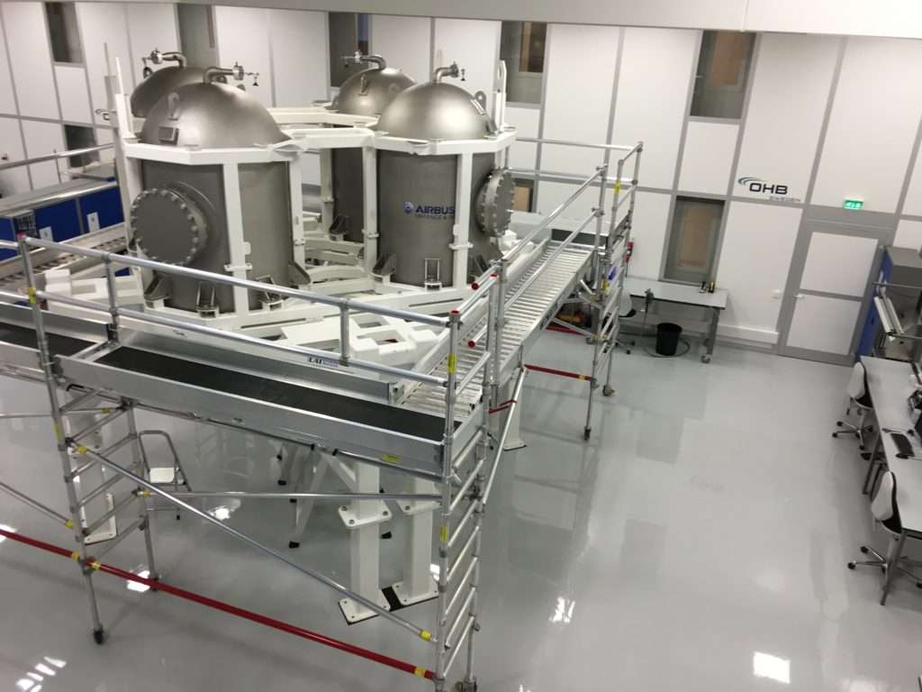 Propulsion Qualification Model (PQM), currently including the structure and the propellant tanks, ready for the start of integration activities at OHB Sweden. Image Credit: ESA