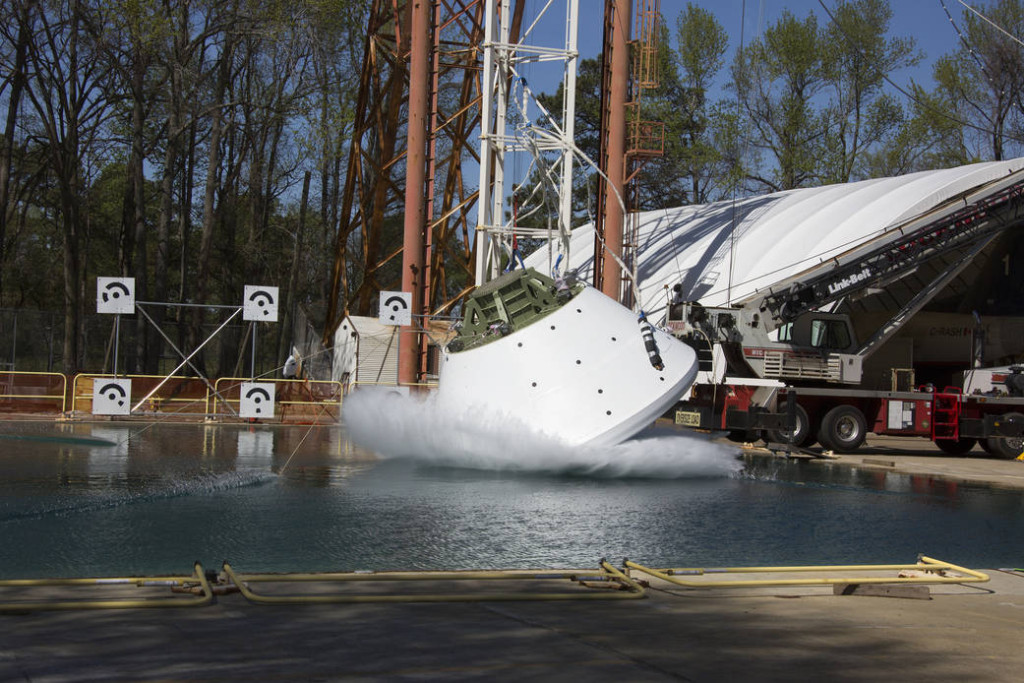 Orion GTA vertical drop test at NASA LaRC's Imapact and Splash Basin. Image Credit: NASA
