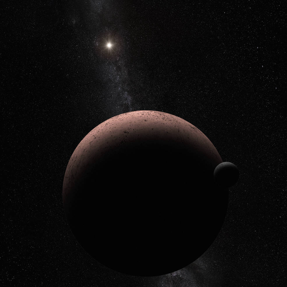This artist's concept shows the distant dwarf planet Makemake and its newly discovered moon. Makemake and its moon, nicknamed MK 2, are more than 50 times farther away than Earth is from the sun. Image Credit: NASA, ESA, and A. Parker (Southwest Research Institute)