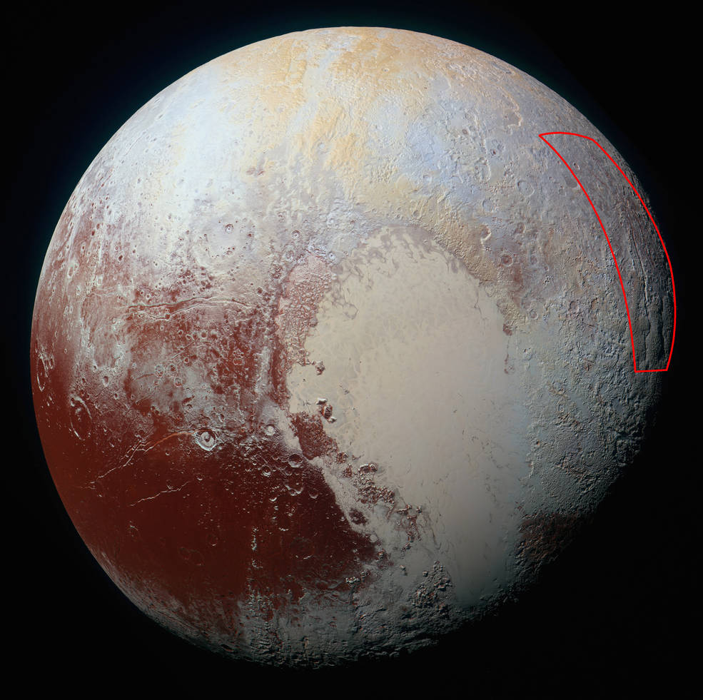Location of the spider-like feature at the eastern edge of Pluto's encounter hemisphere, as captured by NASA's New Horizons spacecraft on July 14, 2015. Image Credit: NASA/JHUAPL/SwRI